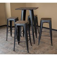 loft style 30 in bar table set in black with dark elm wo