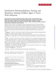 Pdf Oseltamivir Pharmacokinetics Dosing And Resistance