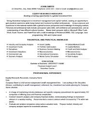 Equity Research Associate Cover Letter Equity Research Associate