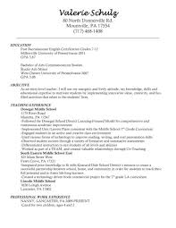 Teacher Resume Objective Resumes Substitute Examples Samples English
