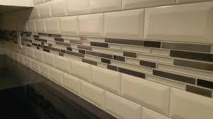 KITCHEN Backsplash Subway 3 x 6 Beveled wGlassMetal Band