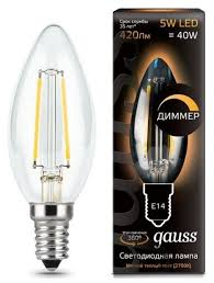 <b>Лампа</b> светодиодная <b>gauss 103801105</b>-<b>D</b>, E14, C35, 5Вт ...