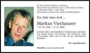 Markus Vierhauser Jahresgedächtnis Vn Todesanzeigen