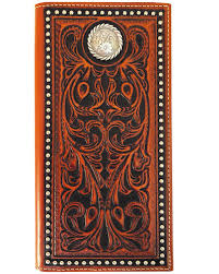 zoomed image roper men s leather rodeo tooled wallet tan hi res
