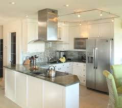 Peninsula Kitchen Free Standing Range Hood Kitchen Beach With Ceiling Lighting