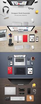 designer office desk isolated objects top view. designer office desk isolated objects top view s
