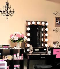 Metal Bedroom Vanity Brown Top Makeup Table With Mirror And Lights For Walk In Closet