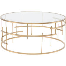 tiffany round coffee table w clear glass on brushed gold stainless steel geometric base gold round gold detail trim mirrored top