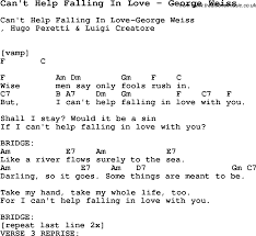 Song Cant Help Falling In Love By George Weiss With Lyrics For