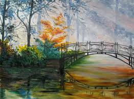 oil painting work bridge in the forest with svetlana kanyo you