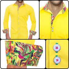 Yellow Designer Shirt Mens Mens Designer Dress Shirt Tropical Infusion