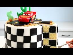 Cars 3 Cake With Checkered Flag Inside Youtube