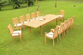 details about 13 pc outdoor teak dining set 122 xl rectangle table 12 stacking chairs masc