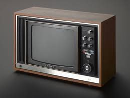 sony tv small. the sony trinitron tv was one of first sets to broadcast in colour. tv small