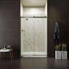 semi frameless sliding shower door in nickel