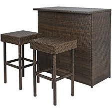 Amazon Ulax Furniture 3Pcs Patio Outdoor Wicker Bar Set with