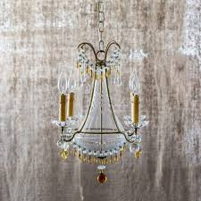 antique italian chandelier w cut crystal and amber glass accent c 1912 ormolu design