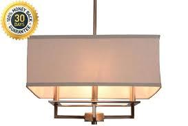hampton bay 4 light brushed nickel chandelier with rectangular light gray linen shade