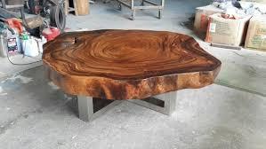 coffee table round live edge acacia
