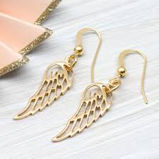 yellow gold angel wing small earrings