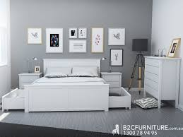 Modern Bedroom Furniture Melbourne Dandenong King Sizebed White Storage B2c Furniture