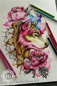 Water Color Wolf Moje Tetování Wolf Tattoos Tattoos A Wolf