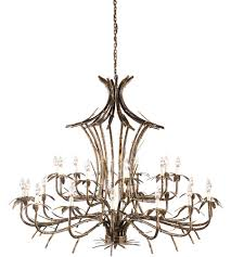 wildwood 67006 bamboo 25 light 57 inch old gold patina on chandelier ceiling light photo