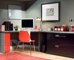 chic interior home office design idea with dark brow gloss varnish color finished l shaped great office desk and red simple office chair feat brown chic shaped home office