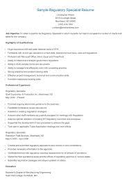 Sample Regulatory Specialist Resume Reading Specialist