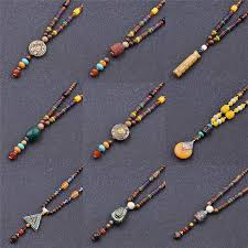 details about ethnic wooden beads chain necklace long chain beads pendant retro pretty jewelry