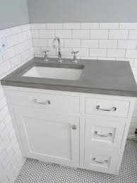 white vanity with gray top. White Vanity Grey Top Offset Sink Concrete Countertop Just Add For With Gray Pinterest