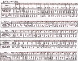 Taylor Charts Size Charts