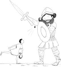 David And Goliath Fight Coloring Page Free Printable Pages New