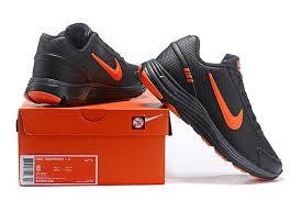 mens nike lunargude 4 running shoes leather black orange 803968 004