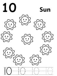 Small Picture Learn Number 10 with Ten Suns Coloring Page Bulk Color