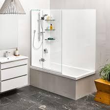 kahlo 1800 shower over bath 2 sided moulded wall platinum swing panel
