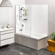 kahlo 1800 shower over bath 2 sided moulded wall platinum swing panel