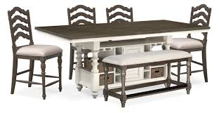 Charleston Counter Height Kitchen Island 4 Stools And Bench