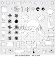 Vectors Of Furniture Linear Vector Symbols Floor Plan Icons Set Furniture Icons For Floor Plans