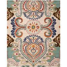 safavieh bella ivory blue 8 ft x 10 ft area rug