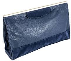 navy leather clutch designer bag photo 1