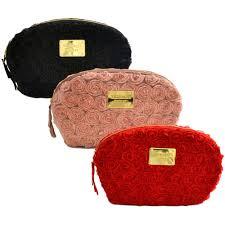 details about victoria s secret makeup bag satin flowers rose travel zip cosmetic case clutch