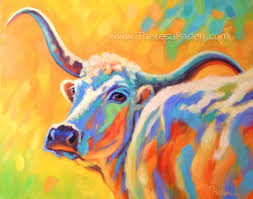 abstract longhorn cow painting in bright colors by theresa paden