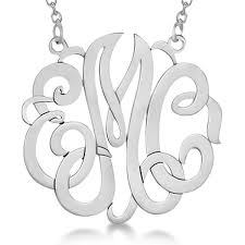 personalized monogram pendant necklace in 14k white gold