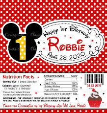 Personalized Mickey Mouse Themed Candy Bar Wrappers