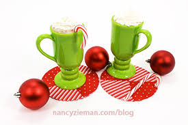 sew peppermint holiday themed mug rug drink coasters with this tutorial from nancy zieman sewing