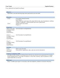 Free Resume Templates Outline Sample Presentation Throughout 79