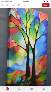 tree print abstract tree painting inch giclee on stretched canvas silhoette trees stained glass wall art modern decor