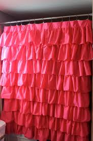hot pink ruffled shower curtain