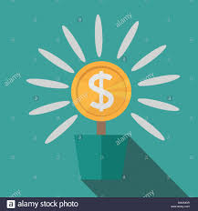 stylish page flat potted money dollar flower monetary success illustration